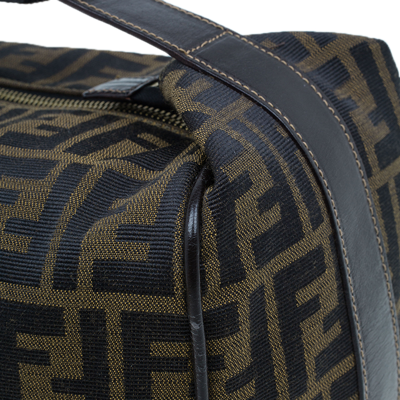 Fendi Brown Zucca Canvas Vanity Cosmetic Bag