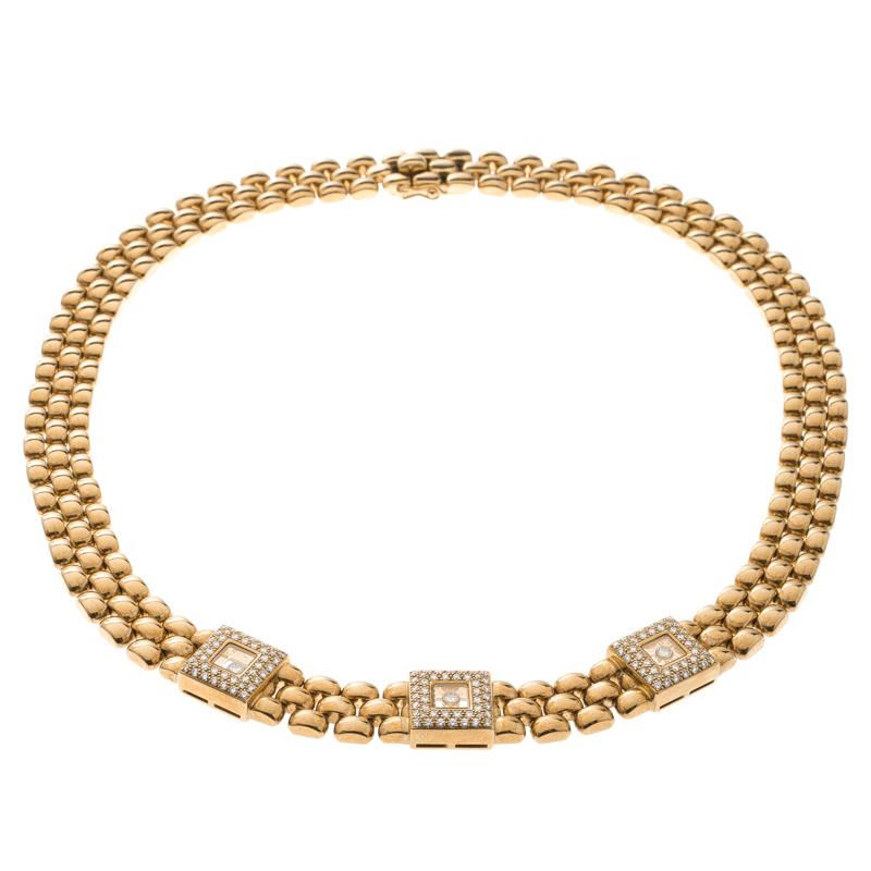 Купить со скидкой Chopard Vintage Happy Diamond 18k Yellow Gold Choker Necklace