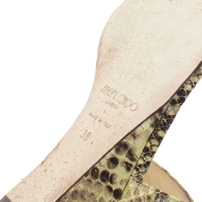 Jimmy Choo Beige Python Connor Wedge Sandals Size 38