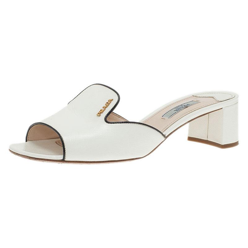 Prada White Saffiano Leather Open Toe Platform Heel Slides Size 38.5