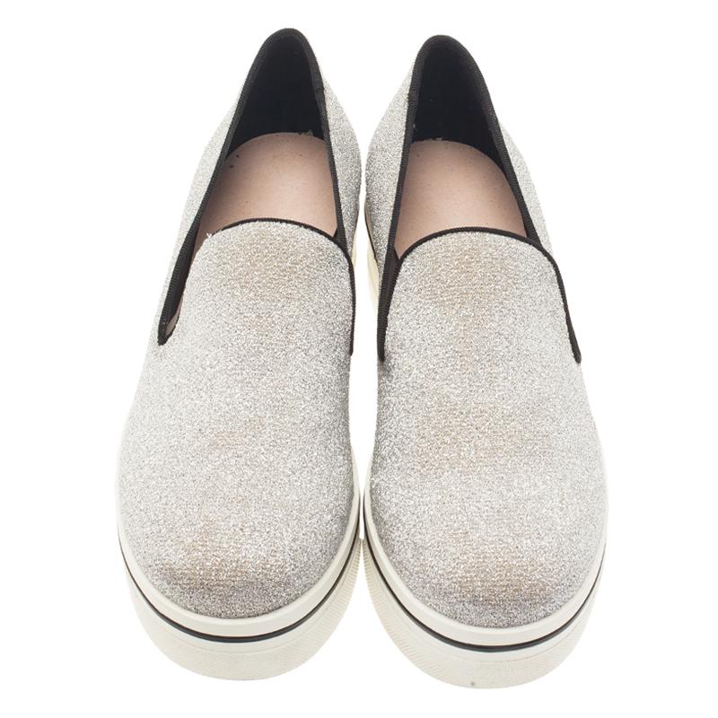 Stella McCartney Silver Glitter Binx Platform Slip On Skate Shoes Size 39