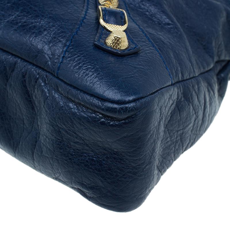 Balenciaga Navy Blue Leather Giant Gold Town Shoulder Bag
