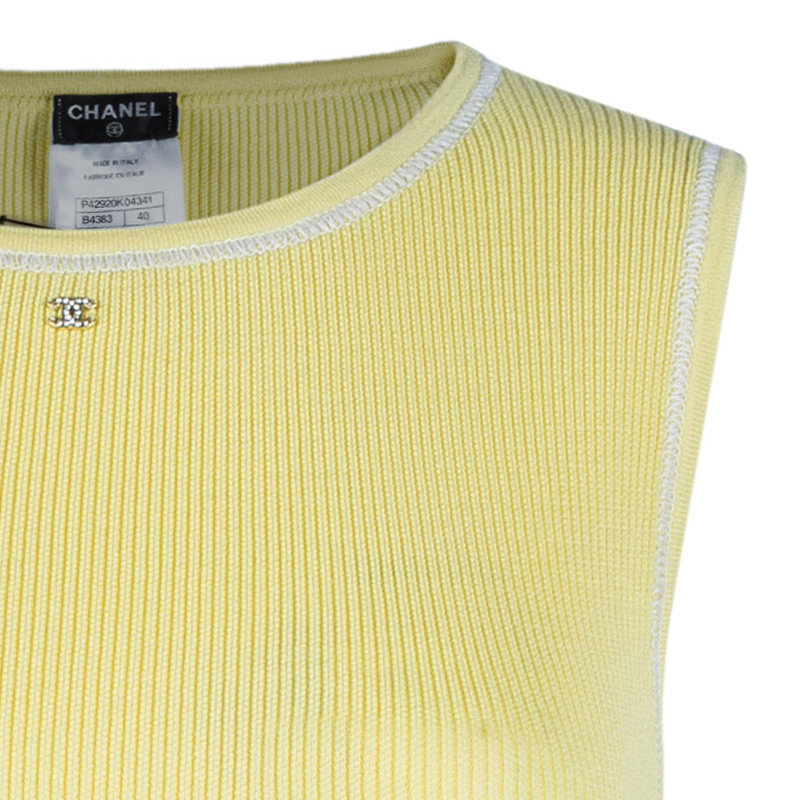 Chanel Canary Yellow Sleeveless Knit Top M