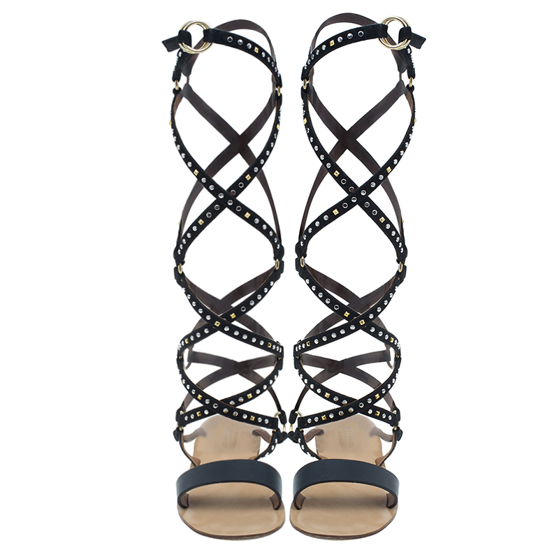 Valentino Black Studded Suede and Leather Teodora Gladiator Sandals Size 36.5