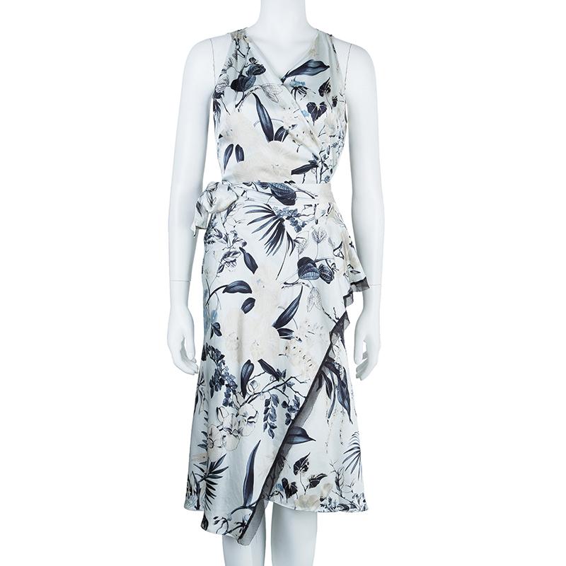 Max Mara Floral Silk Wrap Dress M