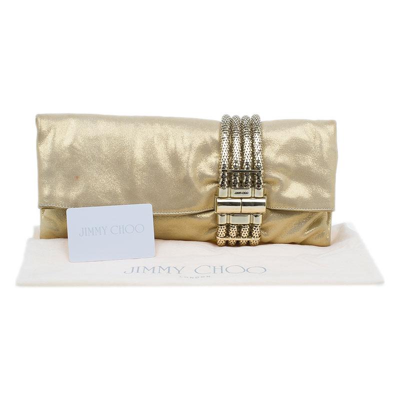 Jimmy Choo Metallic Gold Brushed Chandra Clutch