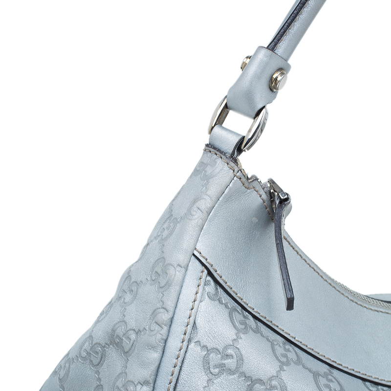 Gucci Silver Guccissima Leather D Ring Large Hobo Bag
