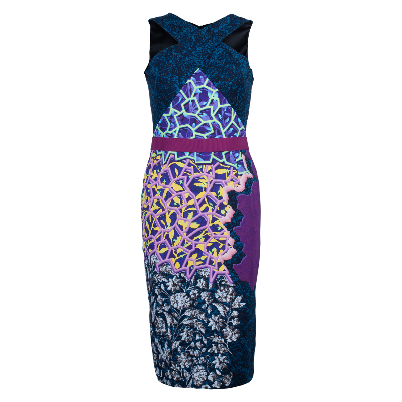 Peter Pilotto Multicolor Print Criss Cross Sleeveless Dress M