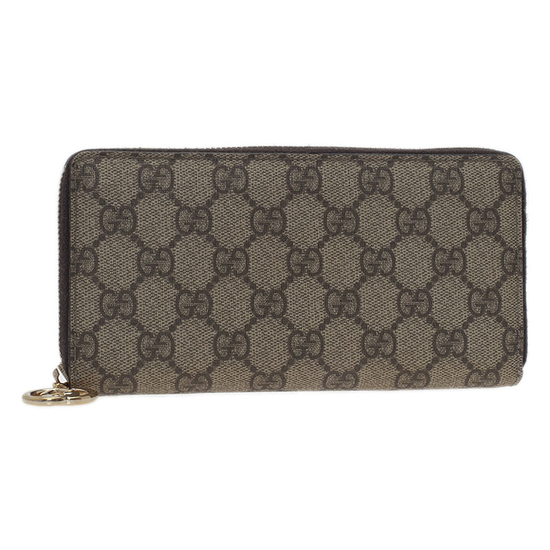 Gucci Beige Guccissima Supreme Canvas Zip Around Wallet