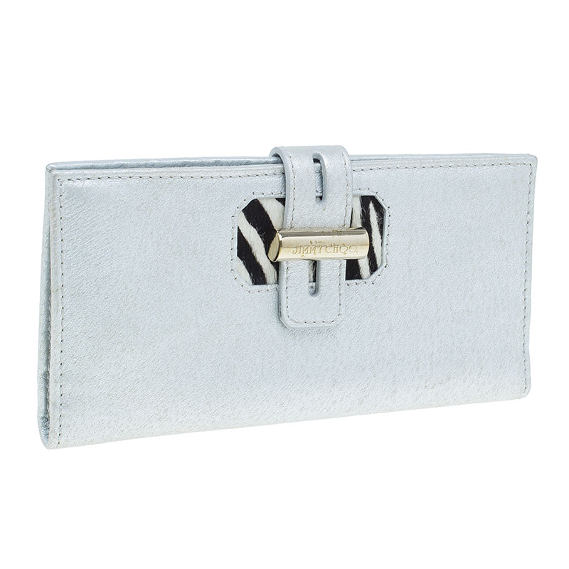 Jimmy Choo Silver Metallic and Pony Hair Trim Wallet