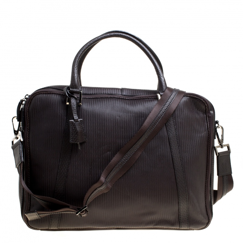 Купить со скидкой Fendi Dark Brown Woven Embossed Leather Laptop Bag