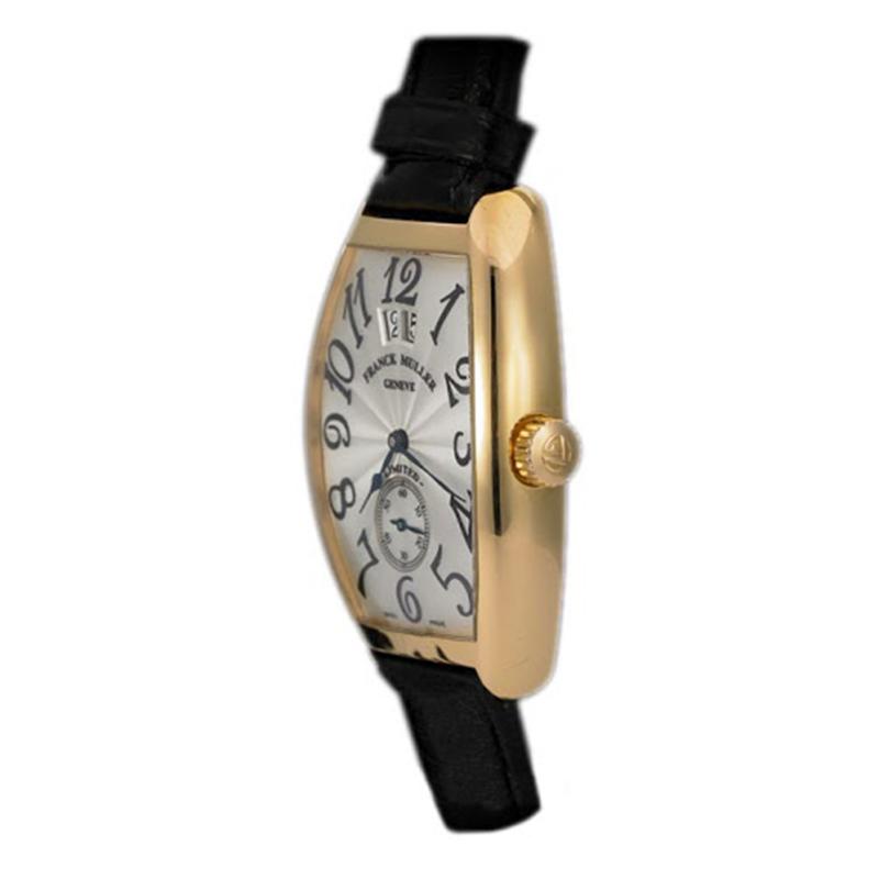Franck Muller Silver 18K Rose Gold Cintree Curvex Grand Guichet Men's Wristwatch 43MM
