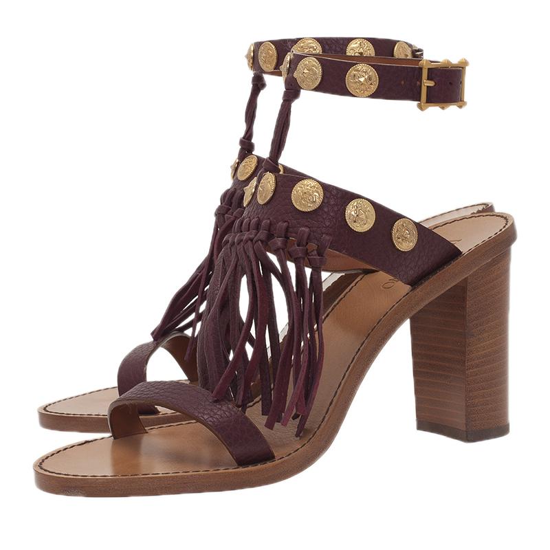 Valentino Burgundy Leather Medallion Fringe Ankle Strap Sandals Size 38.5