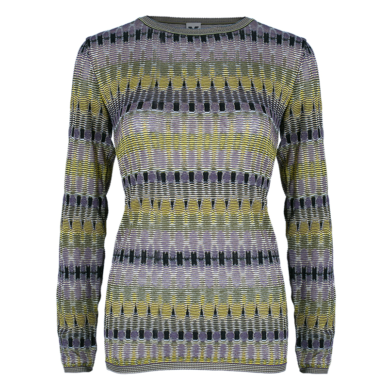 M Missoni Multicolor Knit Long Sleeve Sweater M