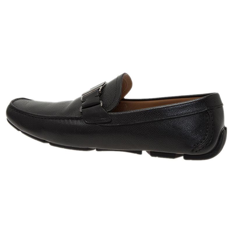 Salvatore Ferragamo Black Leather Sardegna Loafers Size 43