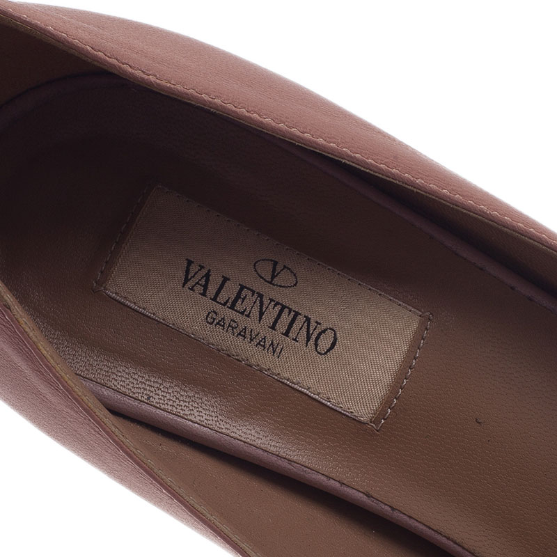 Valentino Beige Rockmance Leather Peep Toe Pumps Size 38