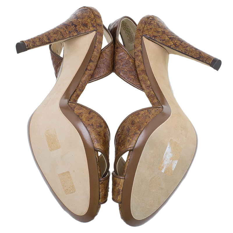 Salvatore Ferragamo Brown Leather Criss Cross Slingback Sandals Size 40