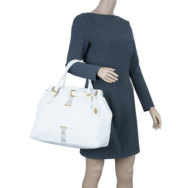 Fendi White Leather Grand Borghese Seleria Tote