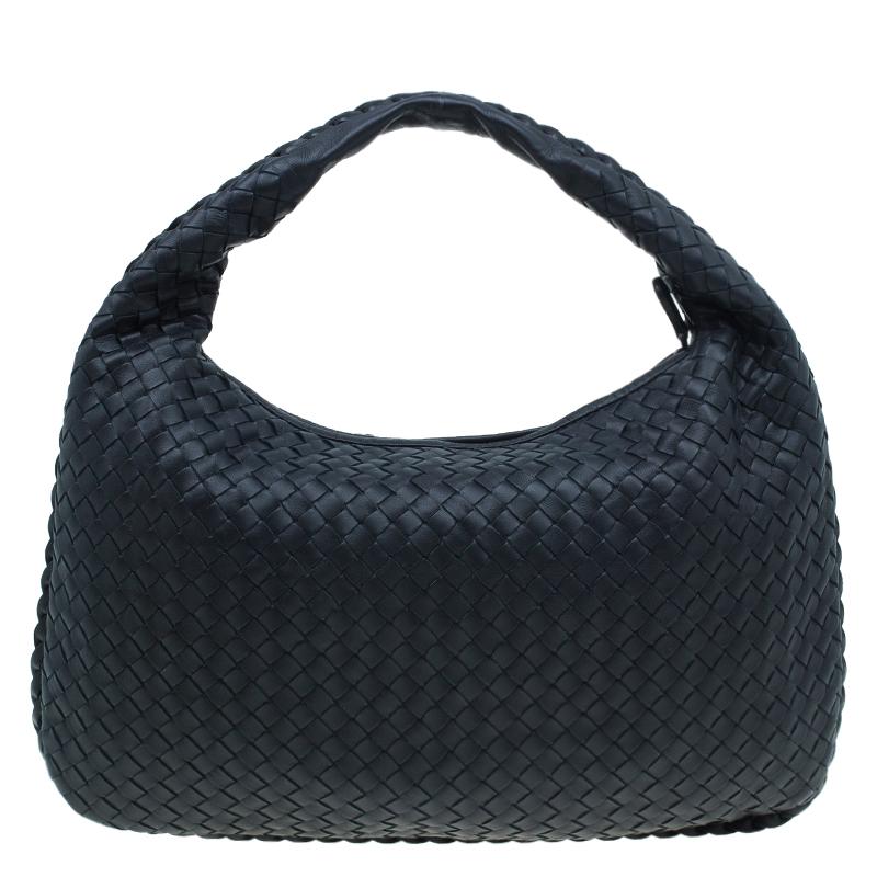 Bottega Veneta Black Leather Intrecciato Nappa Hobo