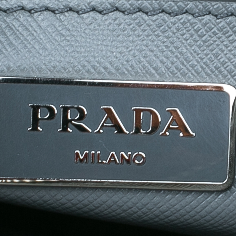 Prada Grey Saffiano Soft Leather Tote Bag