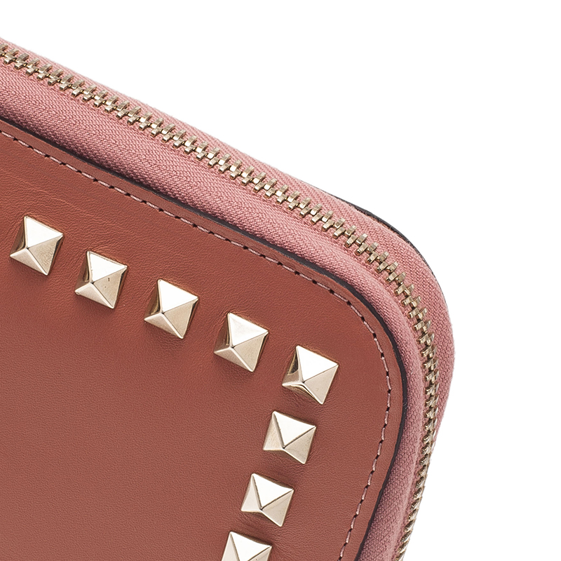 Valentino Nude Leather Rockstud Zip Around iPad Case