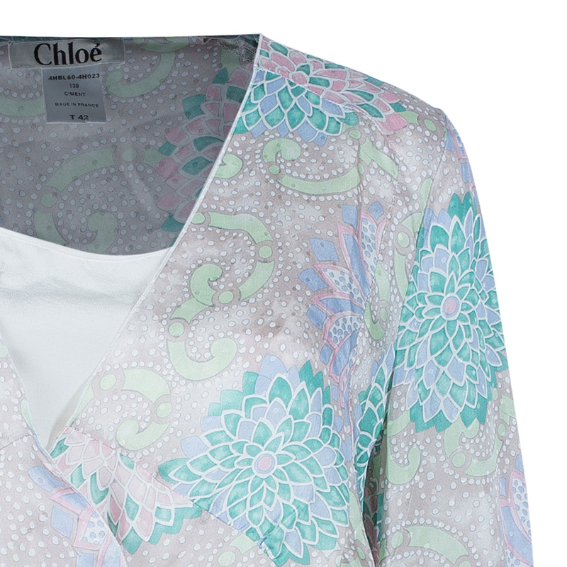Chloe Pastel Printed Silk Long Sleeve Top L