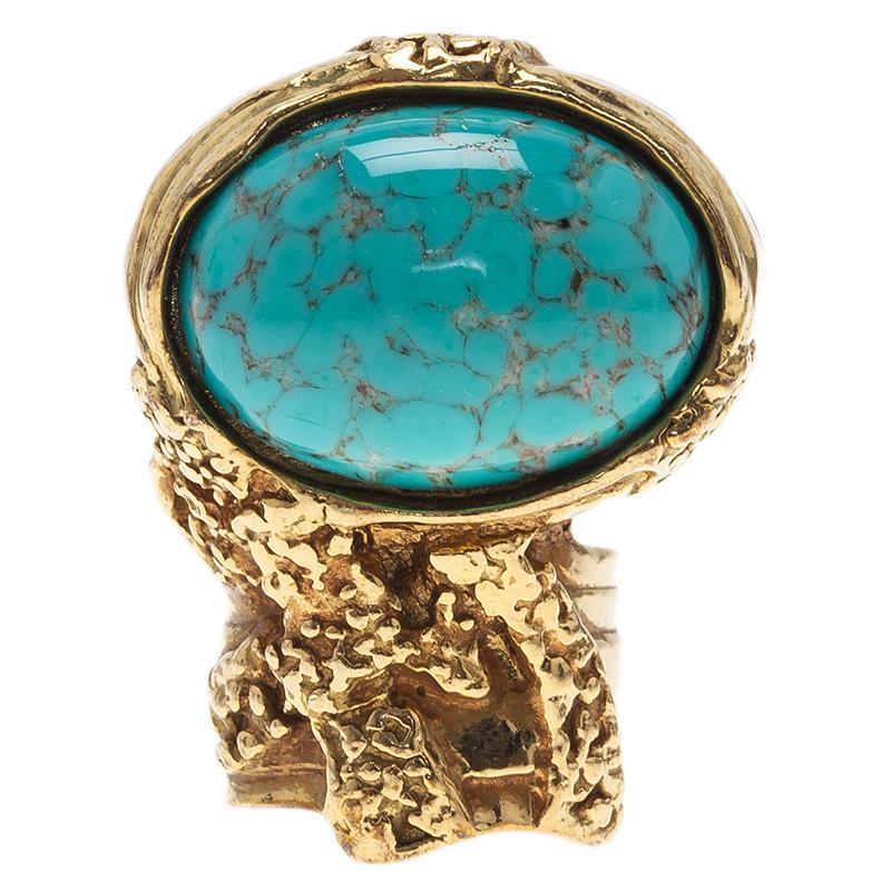 Saint Laurent Paris Gold Arty Ring Turquoise Stone Size 49