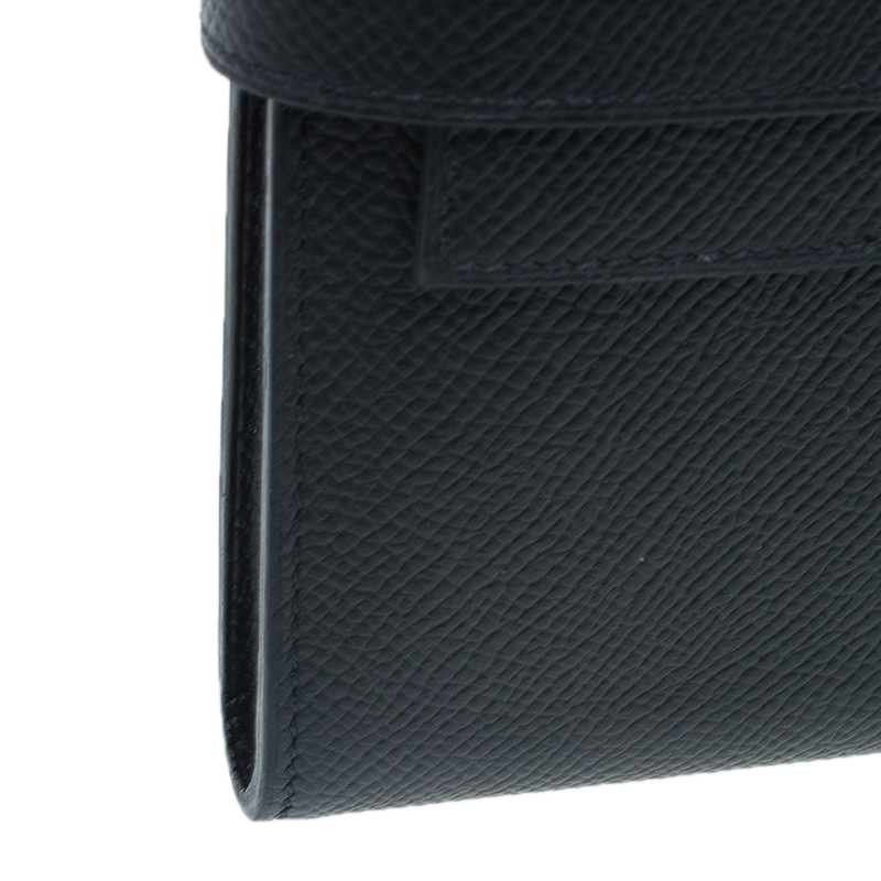Hermes Black Grain d'H Leather Palladium Plated Kelly Wallet