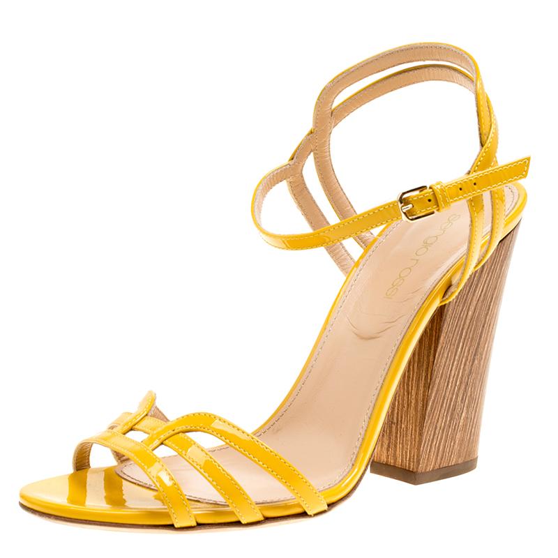 Купить со скидкой Sergio Rossi Yellow Patent Leather Paloma Ankle Strap Sandals Size 38