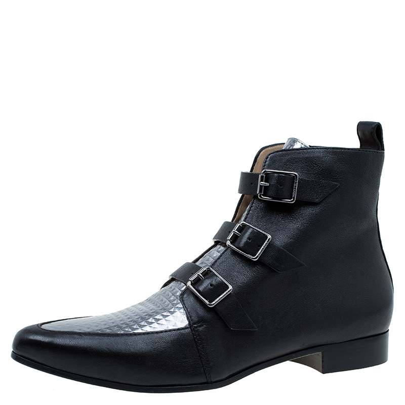 jimmy choo black and silver leather marlin ankle boots