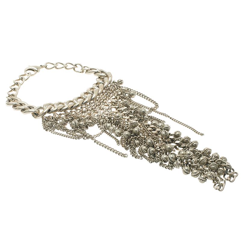 Chanel CC Bombay Chains Silver Tone Bracelet