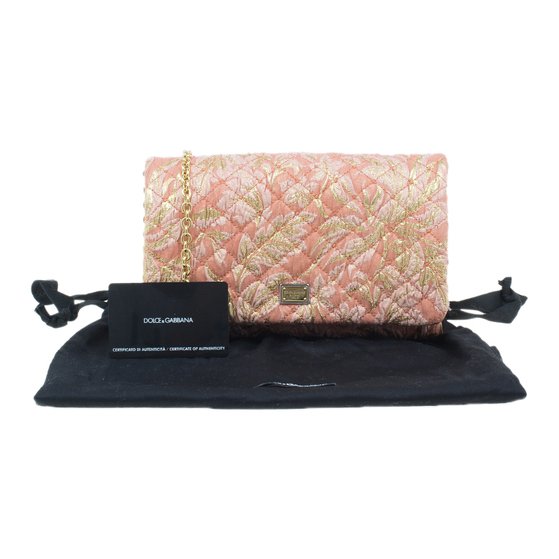 Dolce and Gabbana Pink and Gold Fabric Chain Clutch