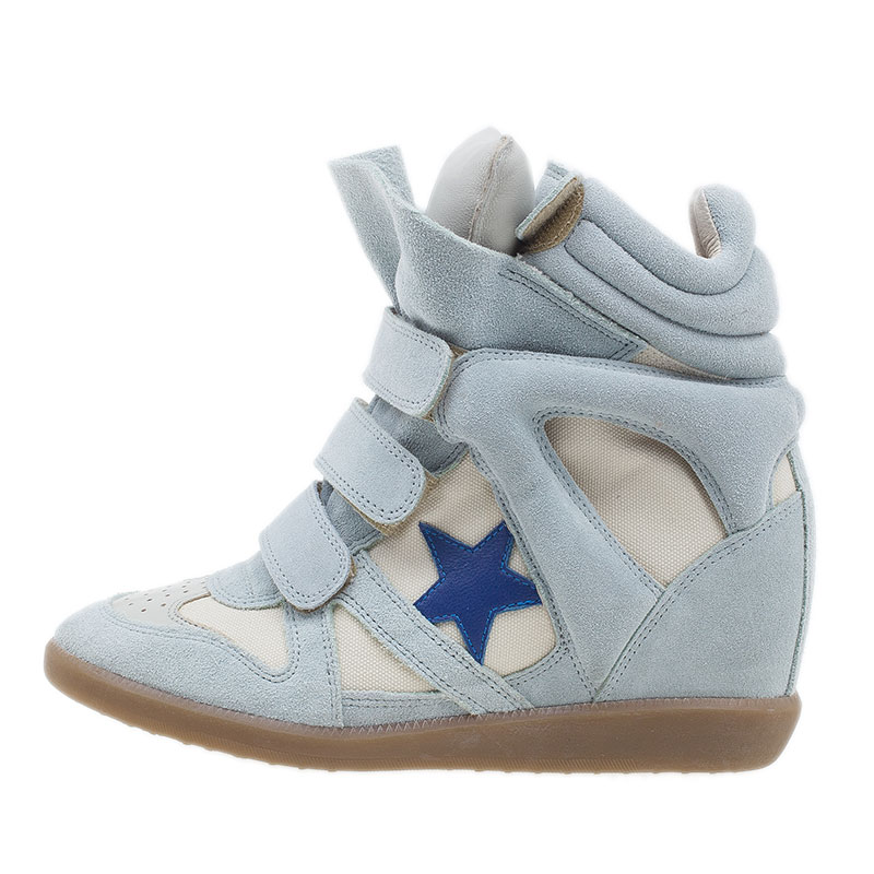 Isabel Marant Blue Bayley Star Wedge Sneakers Size 37