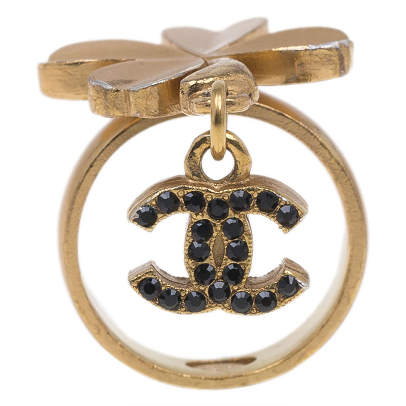 Chanel CC Clover Crystal Gold Tone Ring Size 54.5