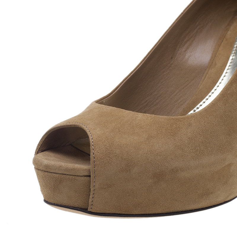 Gucci Brown Suede Sofia Peep Toe Pumps Size 35