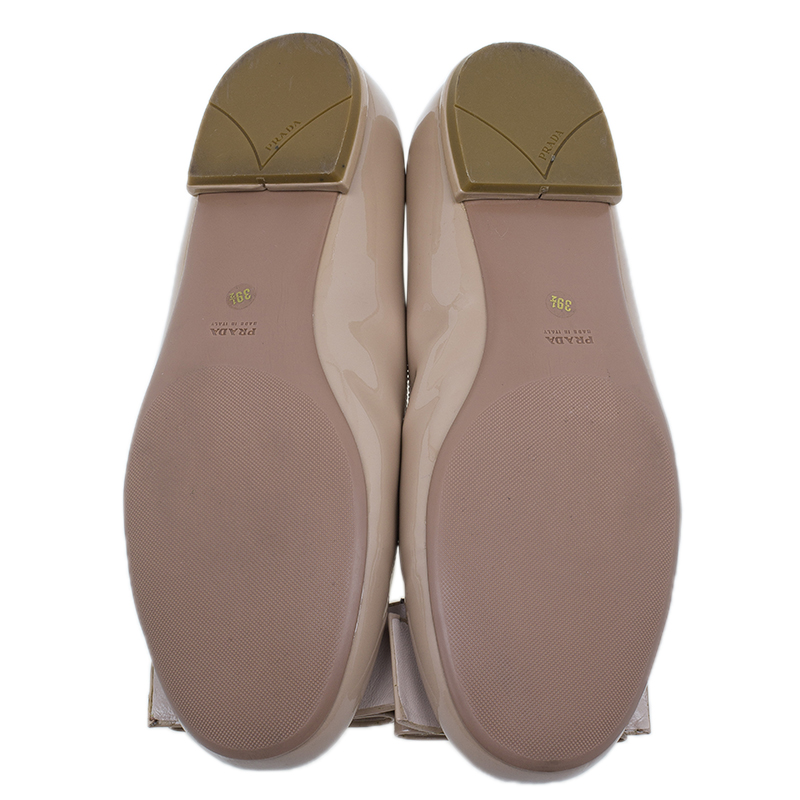 Prada Beige Patent Large Bow Ballet Flats Size 39.5