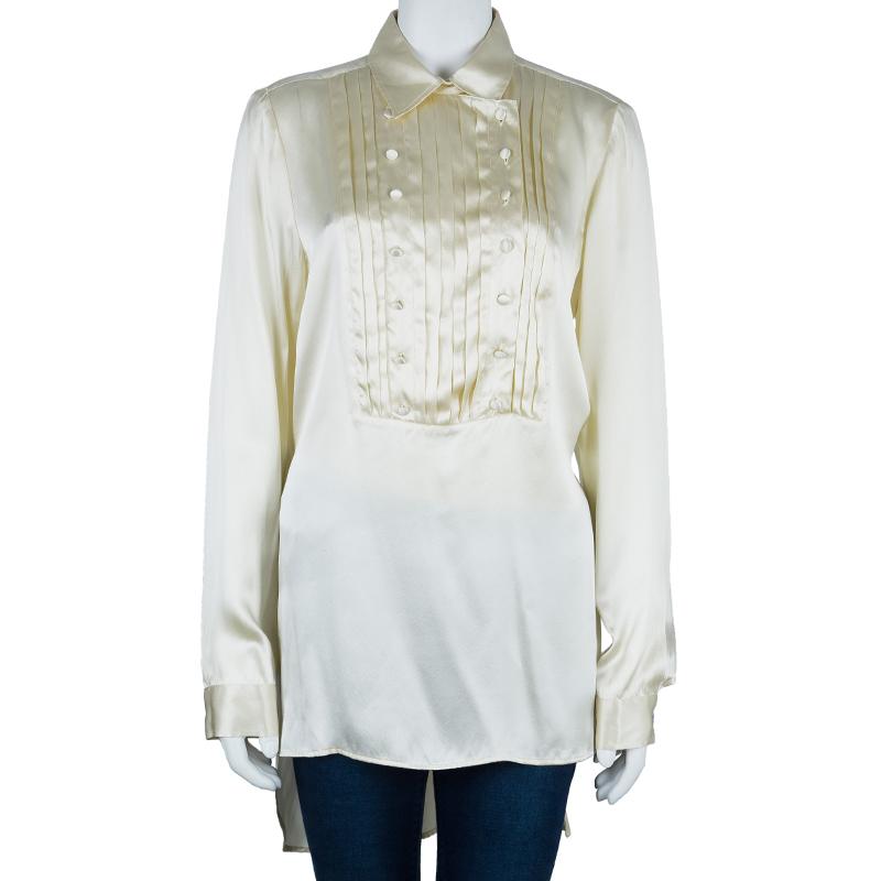 Just Cavalli Cream Silk Satin Long Sleeve Top L
