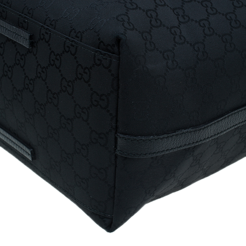Gucci Black Monogram Fabric Large Gifford Tote Bag