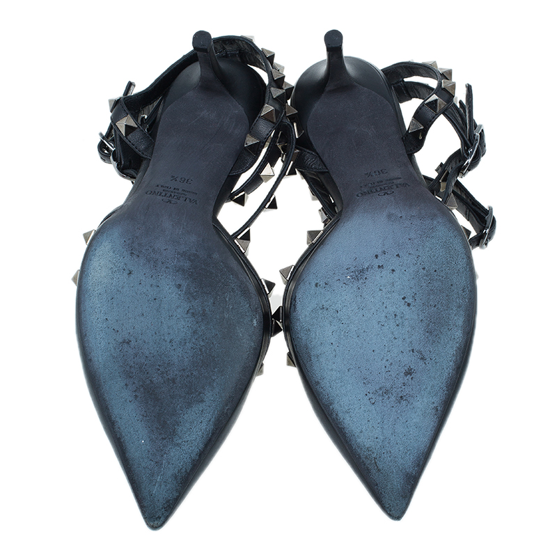 Valentino Black Leather Rockstud Sandals Size 36.5