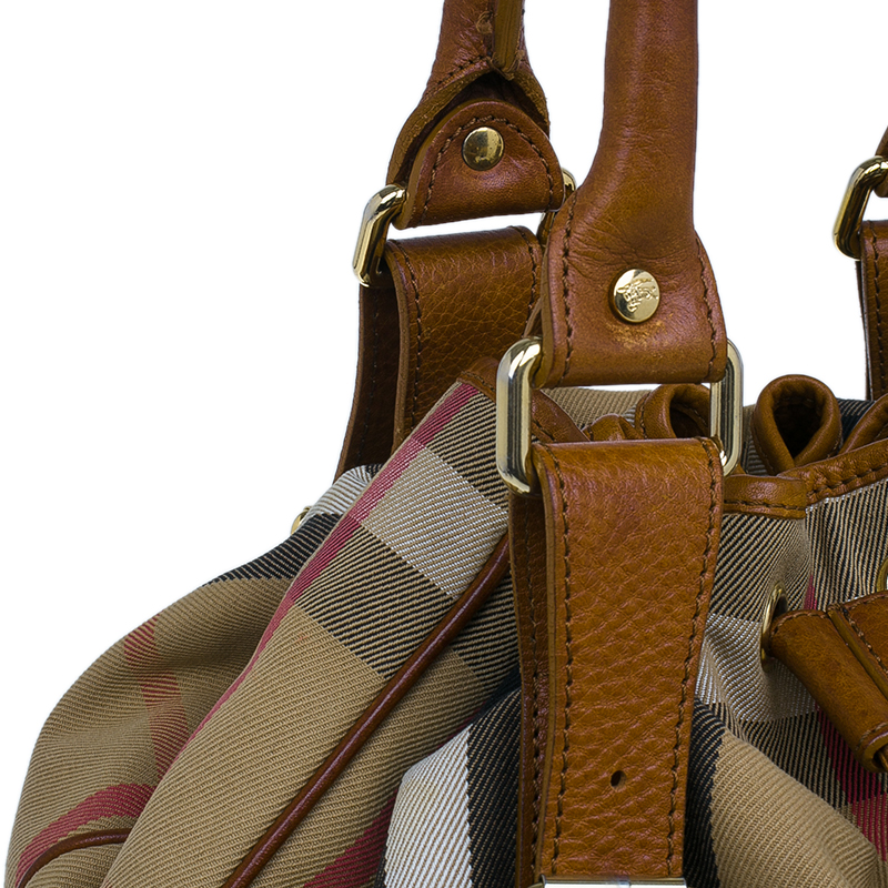 Burberry Brown Canvas/Leather House Check Drawstring Tote Bag