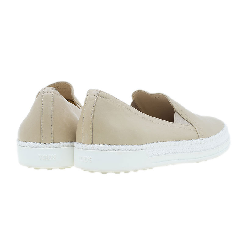 Tod's Beige Leather Espadrille Skate Sneakers Size 37