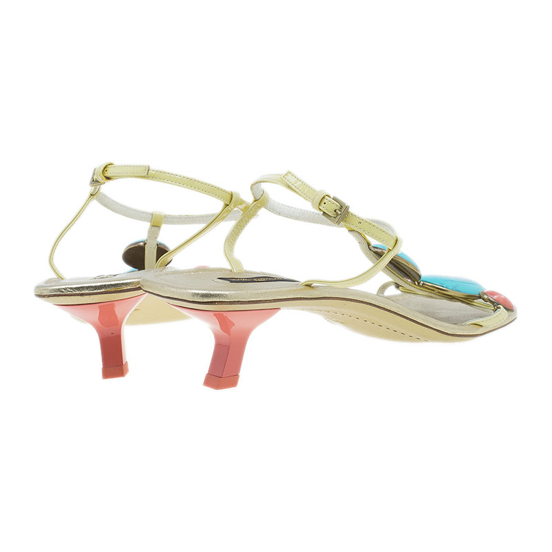 Louis Vuitton Gold Leather Beaded Sandals Size 38.5