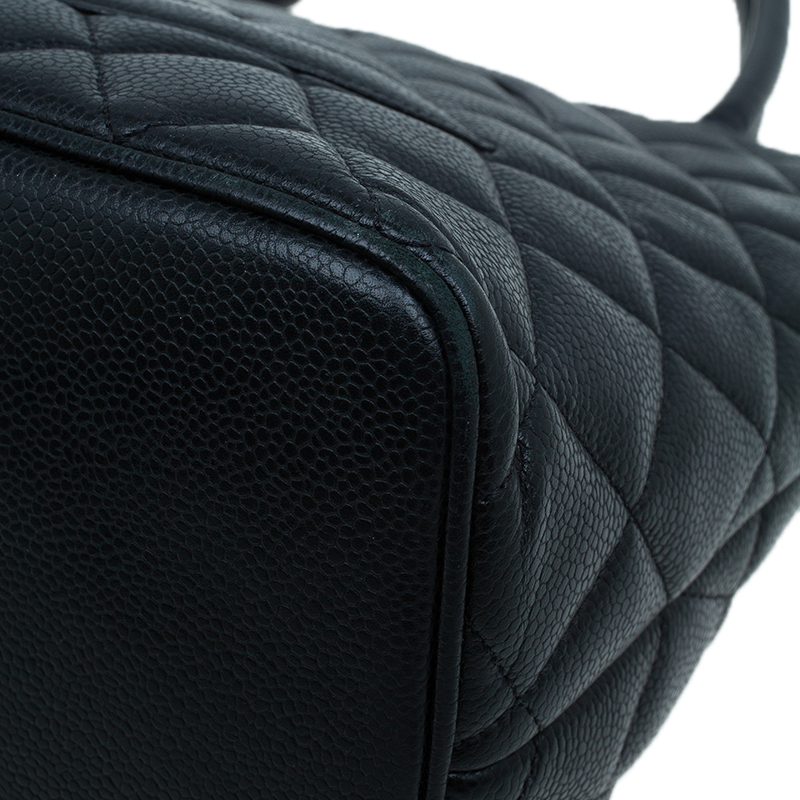Chanel Black Quilted Caviar Leather Medallion Tote Bag