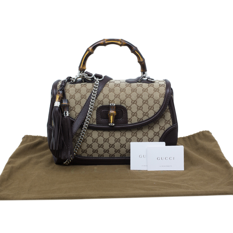Gucci Brown Canvas Leather Large New Bamboo Tassel Top Handle Bag