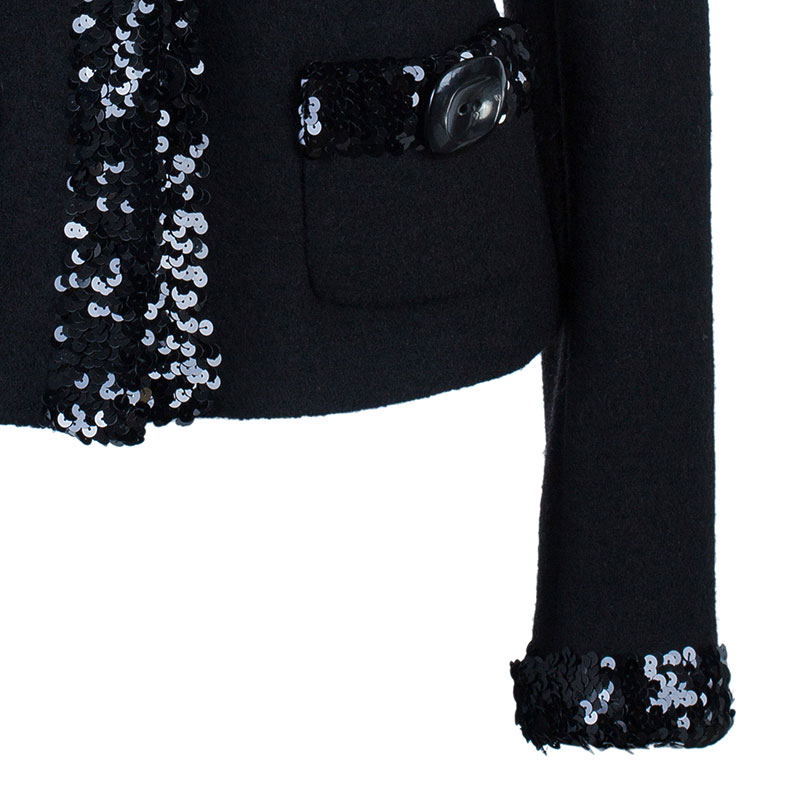 Dolce And Gabbana Black Embellished Blazer M