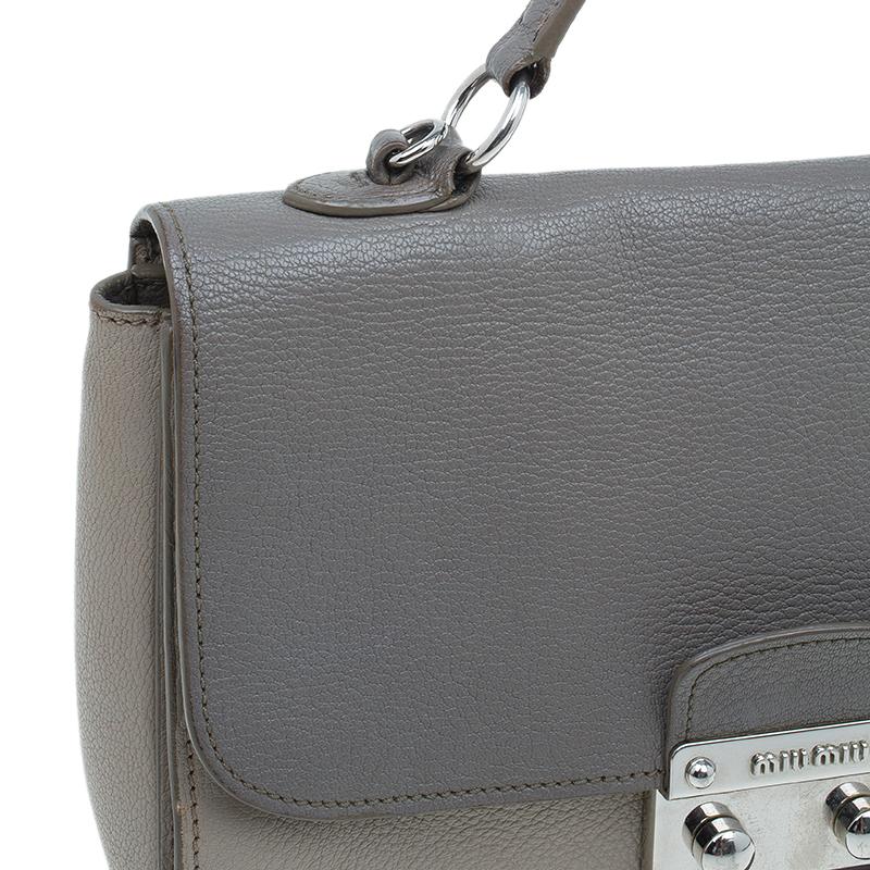 Miu Miu Grey Bi Color Leather Madras Crossbody Bag