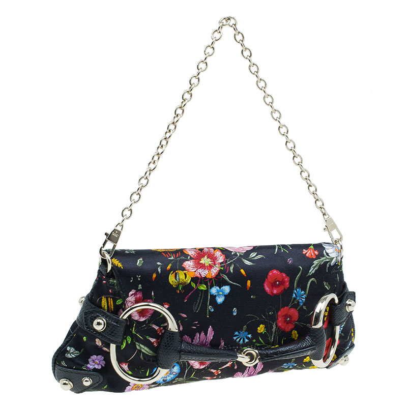Gucci Black Satin Floral Print with Python Trim Horsebit Web Clutch