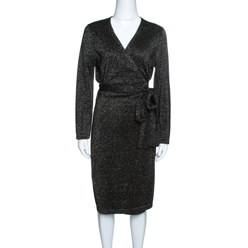 Купить со скидкой Diane Von Furstenberg Black Lurex Knit Long Sleeve Wrap Dress L