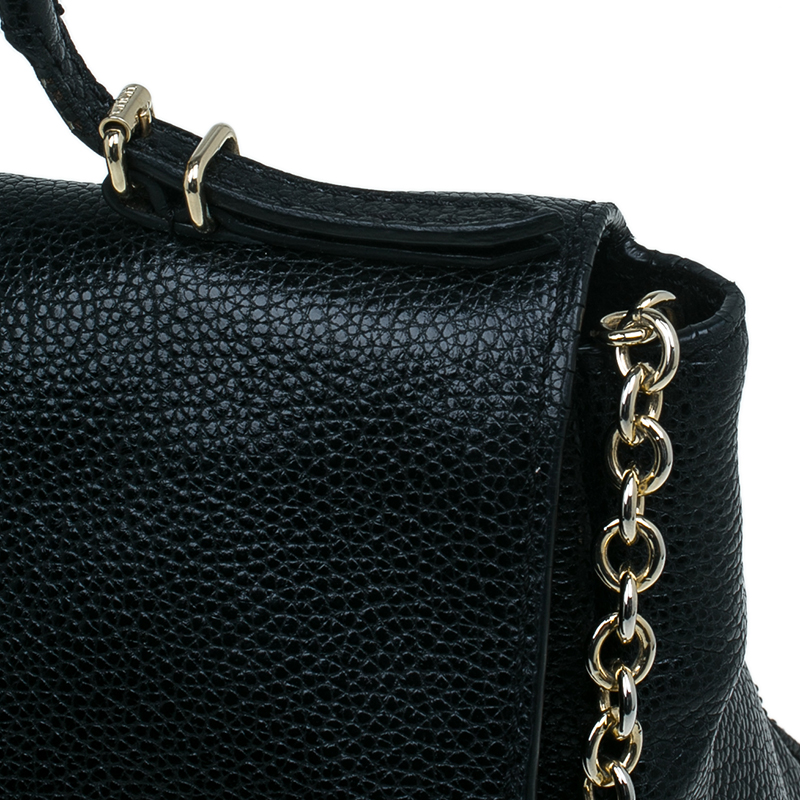 Carolina Herrera Black Leather Minueto Flap Bag