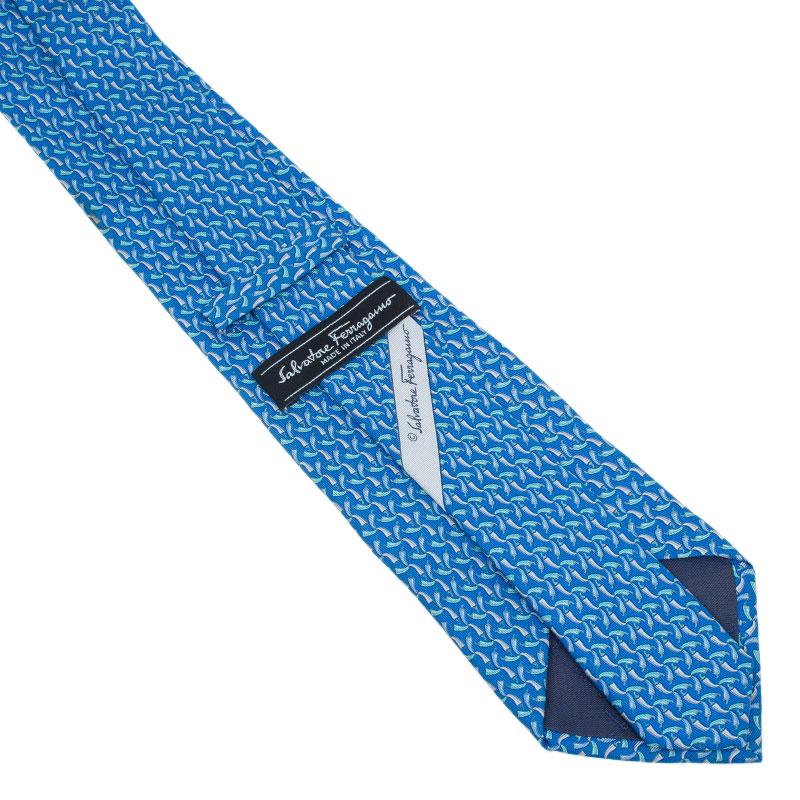 Salvatore Ferragamo Blue Silk Printed Tie